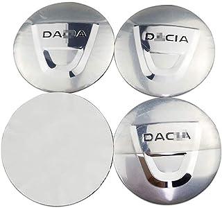 Tapa a Prueba de Polvo HBTTFR 4 Piezas Emblema Llantas centrales Insignia 60 mm Tapas de Cubo de Rueda de Coche Tapa de Cubo para Dacia Duster Logan Sandero Lodgy