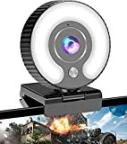 Streaming Webcam with Ring Light HD 1080P Web Camera with Microphone for Laptop, Desktop, Mac Mini, MacBook Pro/air, PC, Monitor, USB Face Cam for Gaming, Streaming, Twitch, Zoom, YouTube