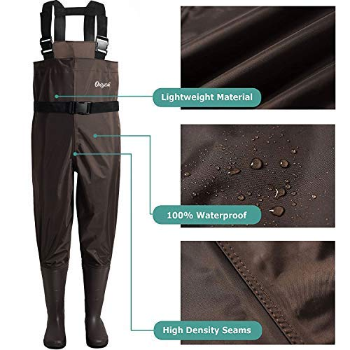 OXYVAN Waders Waterproof Lightweight Fishing Waders with Boots, Brown, Size 11.0