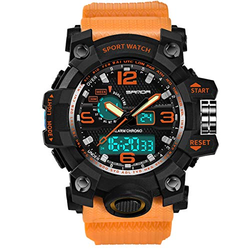 Abstand Armbanduhr FGHYH Männer auf bunten sport luxury double display kaltes licht elektronische wasserdicht Uhr Watch Armbanduhr(Orange)
