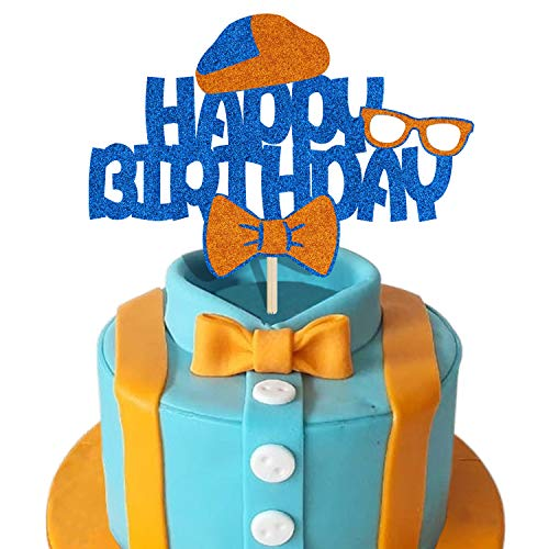 KAPOKKU Happy Birthday Blue and Orange Cake Topper for Billipi Party Cake Decoration Kids Birthday Billipi Theme Party Supplies