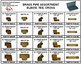 Brass Pipe Elbow Tee Fittings Assortment in 20 Hole Small Metal Tray 13-3/8