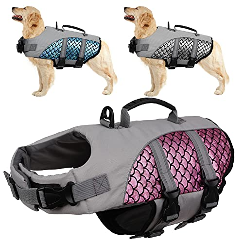Kuoser Chaleco reflectante para perros de alta visibilidad, chaleco salvavidas ajustable para mascotas con tiras reflectantes y asa de rescate, chaleco salvavidas para piscina