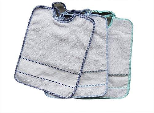 Bavaglie Bavaglini Bavette con elastico asilo scuola materna Bambino Bimbo Maschio da ricamare 3 pezzi con tela aida cm 28x34