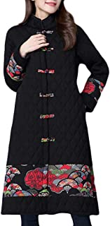 Plus Size Winter Coat Folk-Custom Cotton-Padded Printing Splicing Jacket Women