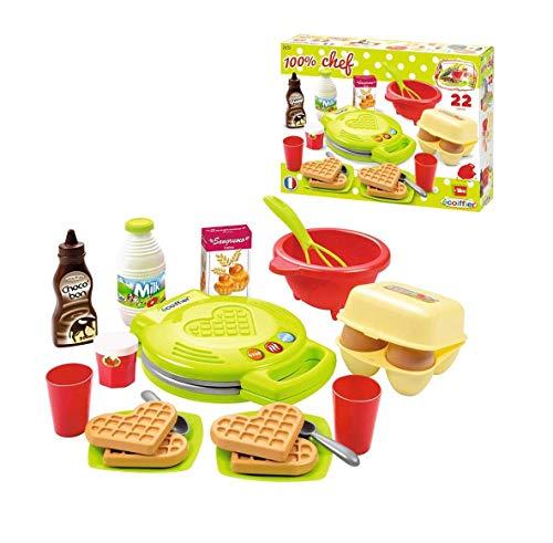 Ecoiffier – Waffeleisen für Kinder – 22-teiliges Backset mit Spiellebensmitteln, ideales Zubehör für Spielküchen, Spielwaffeleisen, für Kinder ab 18 Monaten - 4
