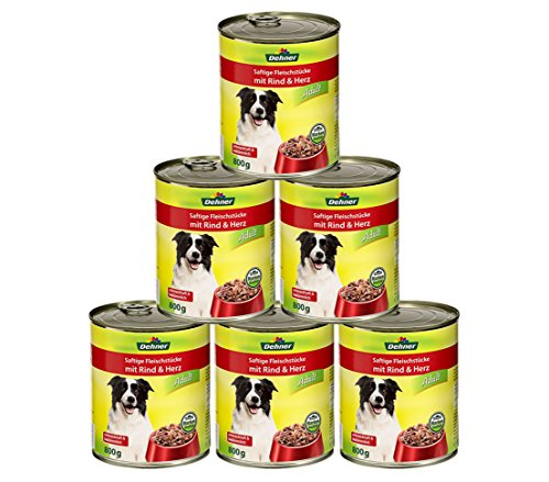 Dehner Hundefutter Adult, Rind und Herz, 6 x 800 g (4.8 kg)