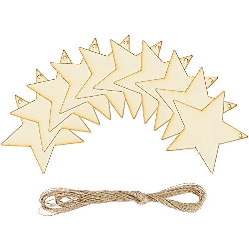 Coobey 20 Pieces Wooden Star Hanging Christmas Ornaments...