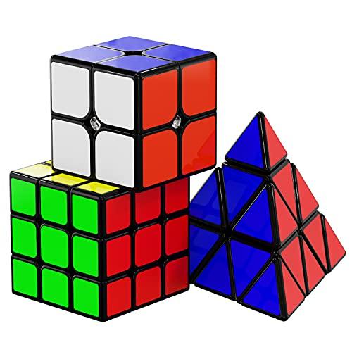 Vdealen Speed Cube Set, Original Magic Cube Set di Qiyi Cube 2x2 3x3 Piramide, Facile Rotazione & Gioco Fluido, Adesivi Cube
