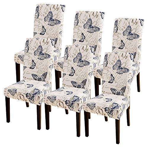 SearchI Super Fit Stretch Removable Washable Short Dining Chair Covers Slipcover Protector, Spandex Fabric Chair Cover for Dining Room, Hotel, Ceremony (Style06, 6 per Set)