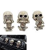 Skull Trio Statue, See Hear Speak No Evil Figurines, Shelf Sitters Statue Figurine, Resin Gothic Goth Skull, Car Decorations Interior Cute, Car Air Freshener Gift Set