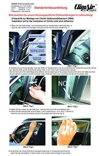 Vordere Windabweiser (1 Set) für die Fahrer und Beifahrerseite-CLS0033869D kompatibel zu Qashqai II TYP J11, GLW, 5-Door, 2014- Dunkles Material