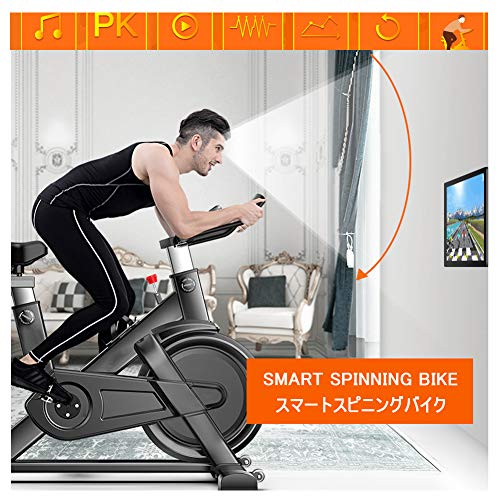 DASGF Intelligente Spinning Bike, 4D Ultra-Rustige Running Oefening Fiets Hartslag Real-Time Monitoring/Online Videomuziek/Nationaal Netwerk PK/Sport Records Huishoudelijke Pedaal Indoor Sport Apparatuur