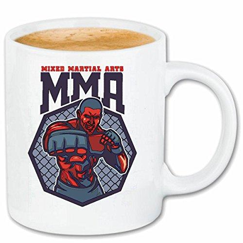 Reifen-Markt Kaffeetasse MMA Mixed Material Arts Kampfsport Street Fighter Boxen Karate Judo Kickboxen Boxhandschuhe KOPFSCHUTZ GEBISSSCHUTZ Kickboxer Keramik 330 m