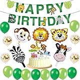 Airrioal Jungle Décorations Anniversaire Garcon Enfant-Bannière Joyeux Anniversaire avec Topper de gâteau,Latex Ballons et Safari Forest Animaux Ballon pour garçon Anniversaire bébé Douche décor