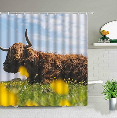 LEIhhdy 180 * 180 cm impresión 3D Tela Impermeable Vida Silvestre Animal baño Cortina bañera Arte decoración Highland Vaca Tema Cortinas de Ducha