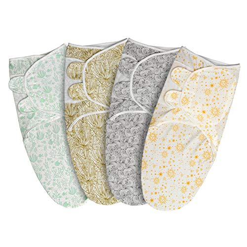 Baby Swaddle Wraps – 100% Soft Organic Cotton Swaddle Blankets for Newborn 0-6 Months, Pack of 4