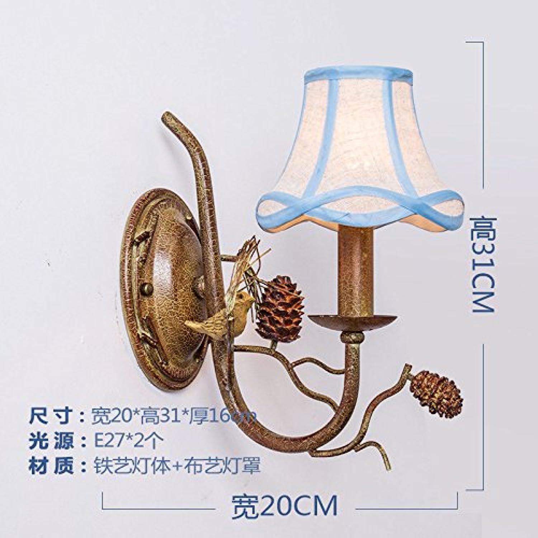 StiefelU LED Wandleuchte nach oben und unten Wandleuchten Schlafzimmer Wand lampe Nachttischlampe rustikalen retro Vogel Garten Wohnzimmer Flur Treppe Licht, einem Kopf