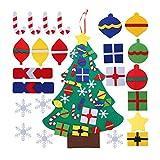 Herefun Árbol de Navidad de Fieltro, Juguetes Educativos de Pared para Niños, DIY Arbol de Navidad con Ornamentos Desmontables, Decoración de Navidad para Paredes y Puertas del Hogar