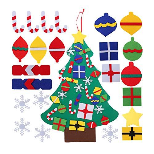 Herefun DIY Feltro Albero Natale 100cm, Albero di Natale per Bambini con Ornamenti Staccabil, Decorazioni Natale per Pareti di Porte, Regali di Natale