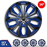 "Set of 4 Hubcaps 14' Swiss Drive Wheel Cover ""SPA"" Blue and Black ABS Easy to Install Universal"