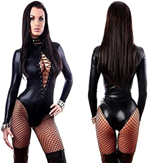 Digital baby Women Sexy Black Leather Lingerie Bodysuits Erotic Leotard Costumes Rubber Flexible Hot Sexy Latex Catsuit Catwomen Costume THO