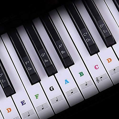 Yuccer Klavier Aufkleber Bunt 37 49 54 61 88 Tasten Keyboard Aufkleber Klaviertasten Aufkleber für Kinder Bestes Geschenk für Klavieranfänger (Mehrfarbig)