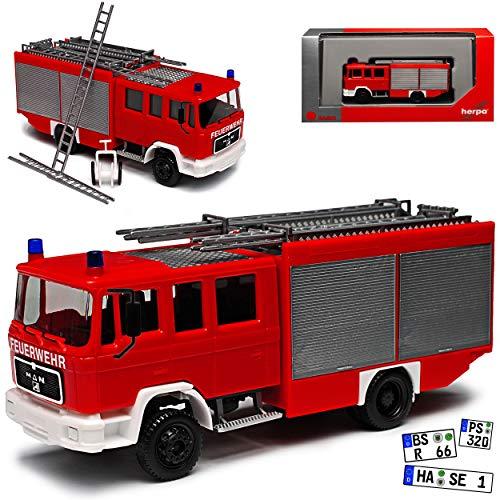 Herpa MAN Man M90 LF16 Feuerwehr Löschfahrzeug H0 1/87 Modell Auto