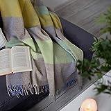 Linen und Cotton Decke Wolldecke Kariert Wohndecke Kuscheldecke Devon - 100prozent Reine Neuseeland Wolle, Grün Beige Natur Weiß Gelb Blau (140 x 200 cm) Sofadecke Couchdecke Winter Plaid Couch Schurwolle