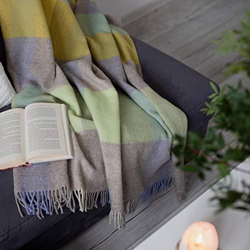 Linen & Cotton Decke Wolldecke Kariert Wohndecke Kuscheldecke Devon - 100% Reine Neuseeland Wolle, Grün Beige Natur Weiß Gelb Blau (140 x 200 cm) Sofadecke Couchdecke Winter Plaid Couch Schurwolle