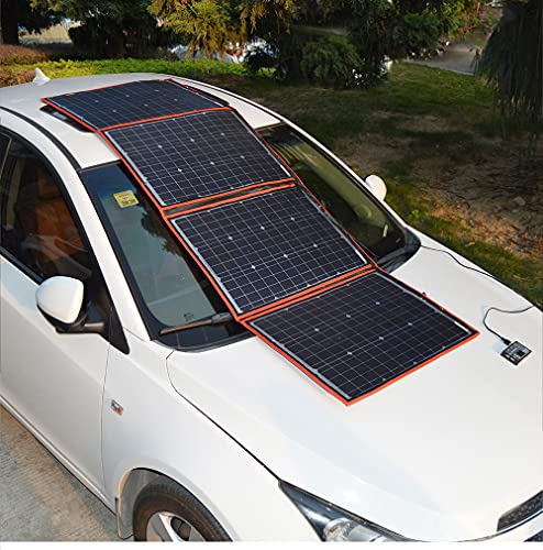 DOKIO 150W 18V Foldable Solar Panel Kit (LIGHTWEIGHT 9lb,21x22inch) Monocrystalline(HIGH Efficiency) with Controller 2 Dual USB Outputs to Charge 12V Battery(All Types: Vented AGM Gel) RV Camper Boat