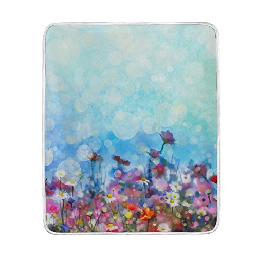 ALAZA Colorful Floral Watercolor Spring Flowers Polyester Microfiber Throw Blanket 50' x 60' Lightweight Cozy Couch Blanket Bed Blanket by My Daily