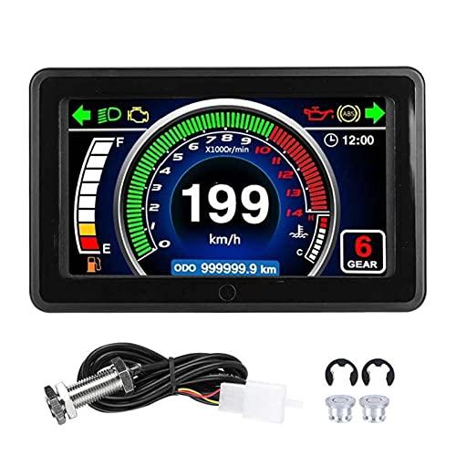 Odómetro Motocicleta Universal Velocímetro LCD Medidor de Velocidad de Velocidad Digital DE Velocidad DE PANTENIMIENTO Ajuste para 1/2/4 Cilindro Motocicleta