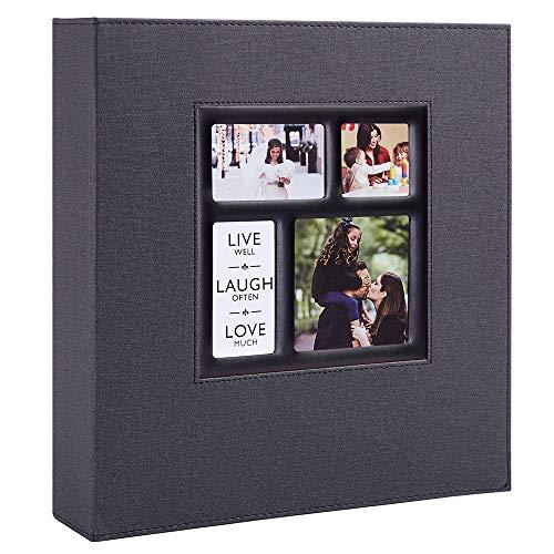 Benjia Album Photo 600 Pochettes 10x15cm Photos Grand Format Famille Mariage Classique Couverture Lin (60 Feuilles, 120 Pages, Noir)