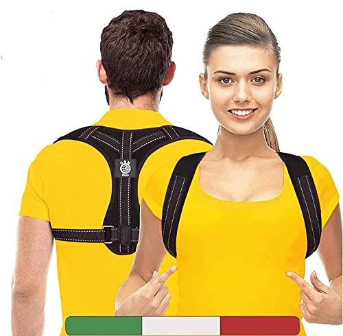 Correttore Posturale (Brand Italiano) - Fascia Posturale Spalle E Schiena Con 2 Cuscinetti e Sacchetta - Correttore di Postura,Busto Schiena Dritta Uomo e Donna