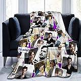N \ A CRI-minal M-inds - Manta polar de franela con flecos de pompón, transpirable, gran manta decorativa para sofá, sala de estar, dormitorio, 132 x 152 cm
