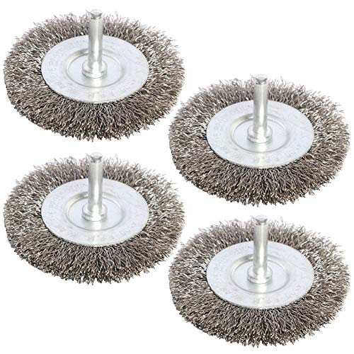 FPPO 4PCS 3 Inch Stainless Steel Wire Wheel Brushes Kit for Drill with 1/4-Inch Shank,Wire Wheels for Power-Operated Grinders