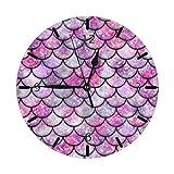Mailine Pink Galaxy Mermaid Mini temática Patrón Impreso Diseño Reloj de Pared Sala de Estar Comedor Dormitorio Escritorio en el hogar Arte Dormitorio Sin tictac