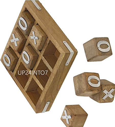 UP24INTO7 Handcrafted Gifts Wooden Tic Tac Toe Game - Family Board Games- Great Gifts for All...