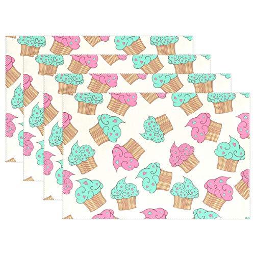GOSMAO Cup Cakes Patrón Mantel Individual Mantel para Mesa de Comedor Poliéster Resistente al Calor Estera Individual Antideslizante Juego de 6