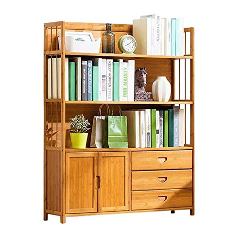 Jcnfa-Shelves Bookshelf Floor Rack Multi-Layer Storage Rack Student Bookcase Door Design Three Drawers for Home Office (Color : Wood Color, Size : 39.379.8450in)