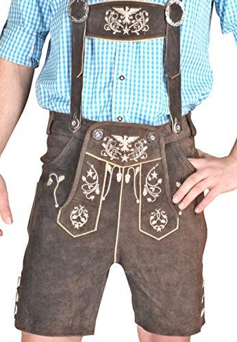Trachten Herren Lederhose Kurz Braun leather trousers Smartphone Tasche KUHA1 (50)