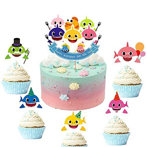 JeVenis Cupcake-Topper, Haifischmotiv, für Babyparty, Geburtstag, Party, Dekoration, 25 Stück
