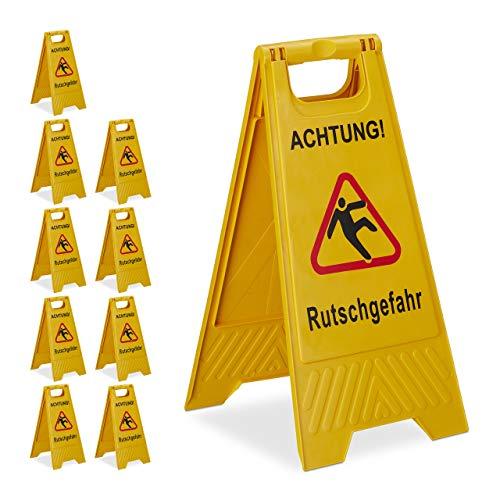 10 x Achtung Rutschgefahr Aufsteller, klappbar, Warnschild vor Glätte, beidseitig beschriftet, Hinweisschild, gelb