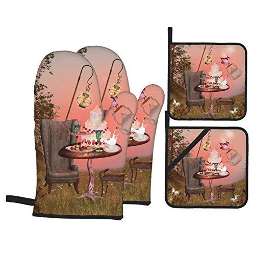 Ofenhandschuhe und Topflappen 4er-Sets,Geburtstag Alice im Wunderland mit Kuchen Schmetterling in magischen Wald Cartoon Kunst,Polyester-Grillhandschuhe mit gesteppten,linerbeständigen heißen Pads
