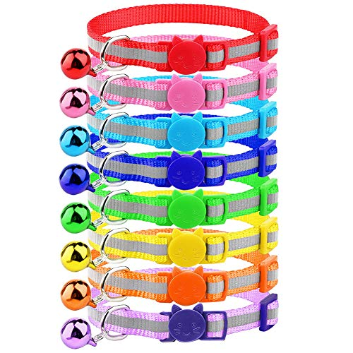 Mtliepte Cat Reflective Collars Breakaway with Bell Nylon Colorful Adjustable for Kitty
