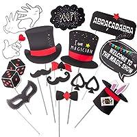 SUNBEAUTY マジックパーティーフォトブース小道具キット マジシャンテーマ 誕生日 マジックシャワー ラスベガス パーティーデコレーション 18個