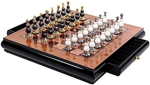 MWKLW Staunton Juego de Tablero de ajedrez Juego de ajedrez Juego de Tablero de ajedrez de Madera Creativo Aleación de Zinc Pintura Piezas de ajedrez Sala de Estar Artesanía Adornos de Regal