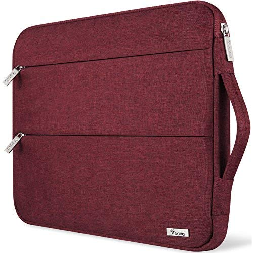 Voova Laptop Sleeve Case 11 11.6 12 Inch with Handle, Waterproof Tablet Cover Bag Compatible Surface Pro 7 6/Surface Go 2, IPad pro12.9, MacBook Air 11, ASUS Acer HP Chromebook, for Women Girls-Red