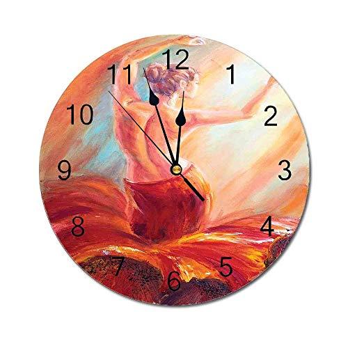 AEMAPE Reloj de Pared Redondo de decoración campestre, Pintura de una Mujer Bailando, Color Flamenco, Boho, Obra de Arte, impresión, Rojo, Naranja